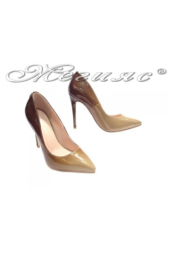 Ladies elegant shoes 15-378 brown high heel pu