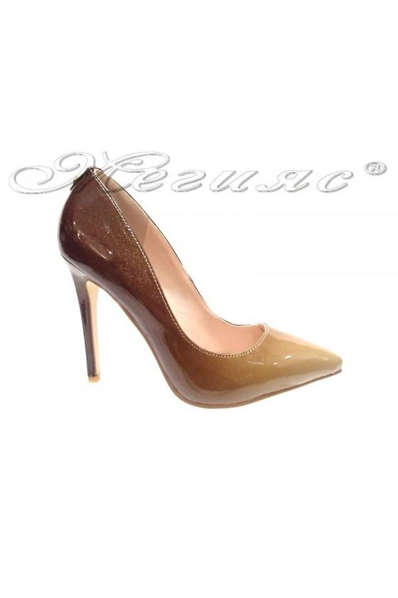 Ladies elegant shoes 15-378 brown high heel pu