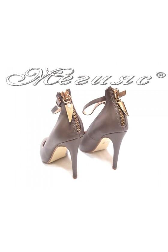 Дамски обувки остри на висок ток еко кожа  Ekai 15-387 каки