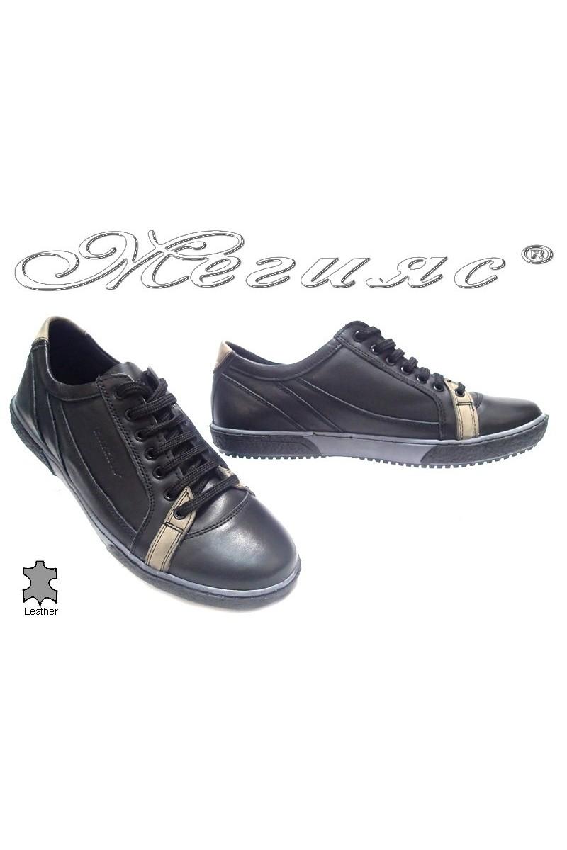 Мъжки обувки Карчино 2625 черни естествена кожа