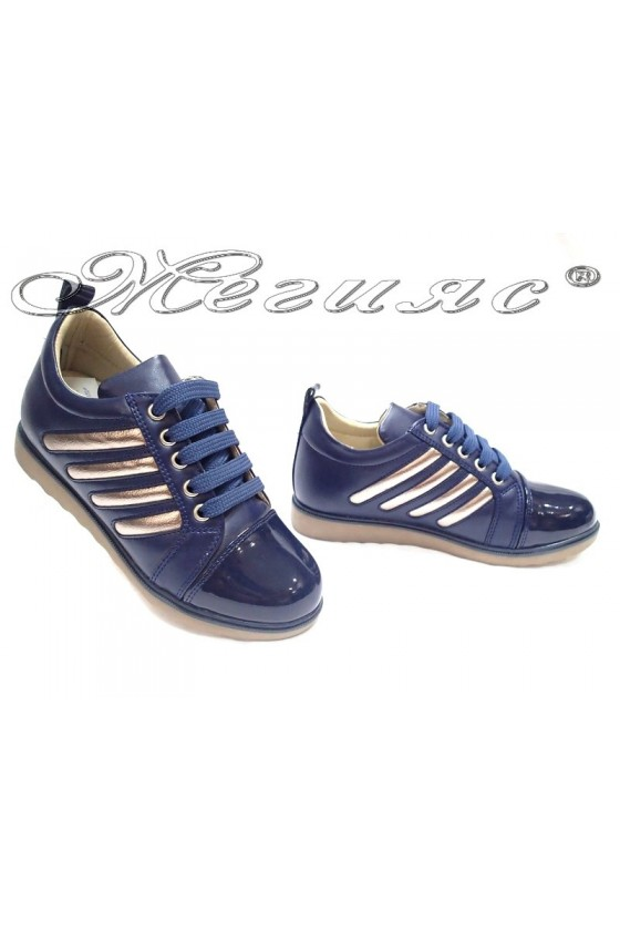 Women sport shoes 1022 dark blue pu+patent