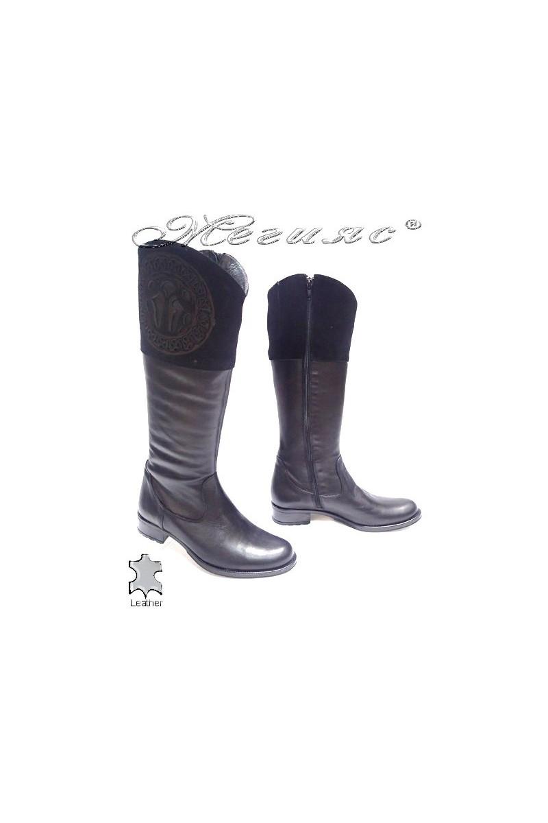 Дамски ботуши 1091-1 черни естествена кожа