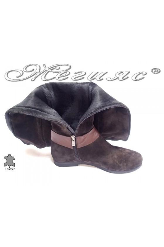Дамски ботуши 190060 кафяви естествен велур
