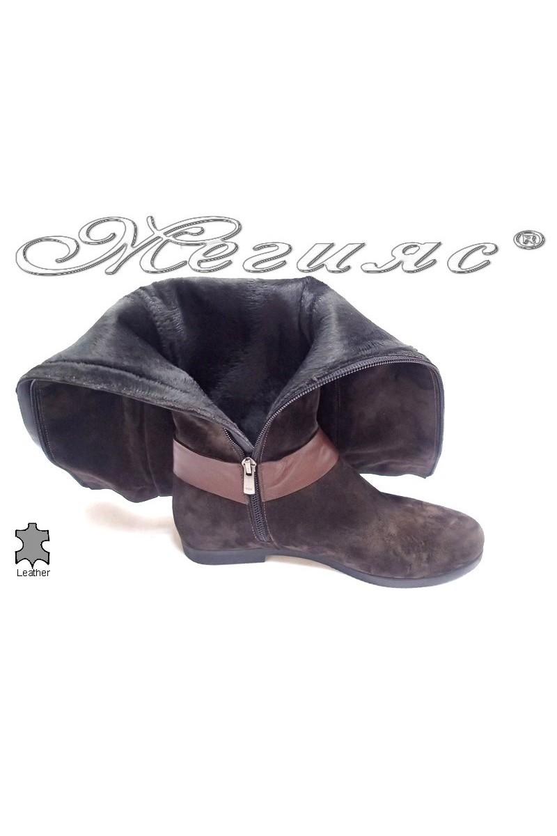 Дамски ботуши 190060 кафяви естествена кожа