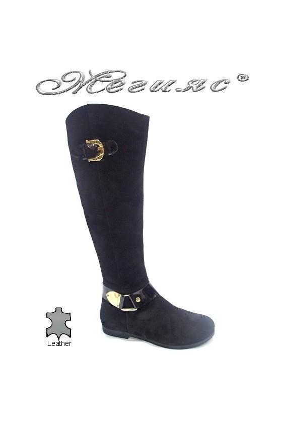 Дамски ботуши 190060 черни естествен велур
