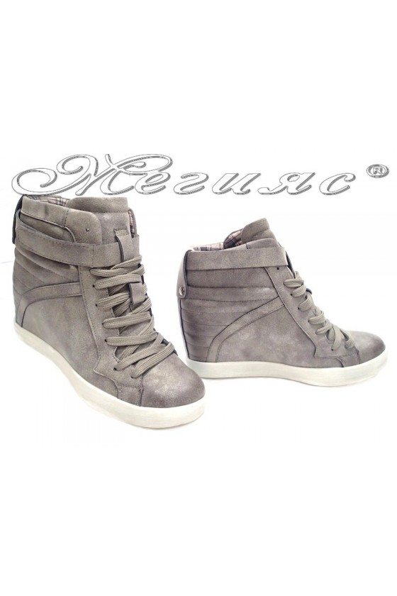 Women sport shoes 26835-5 grey platform pu