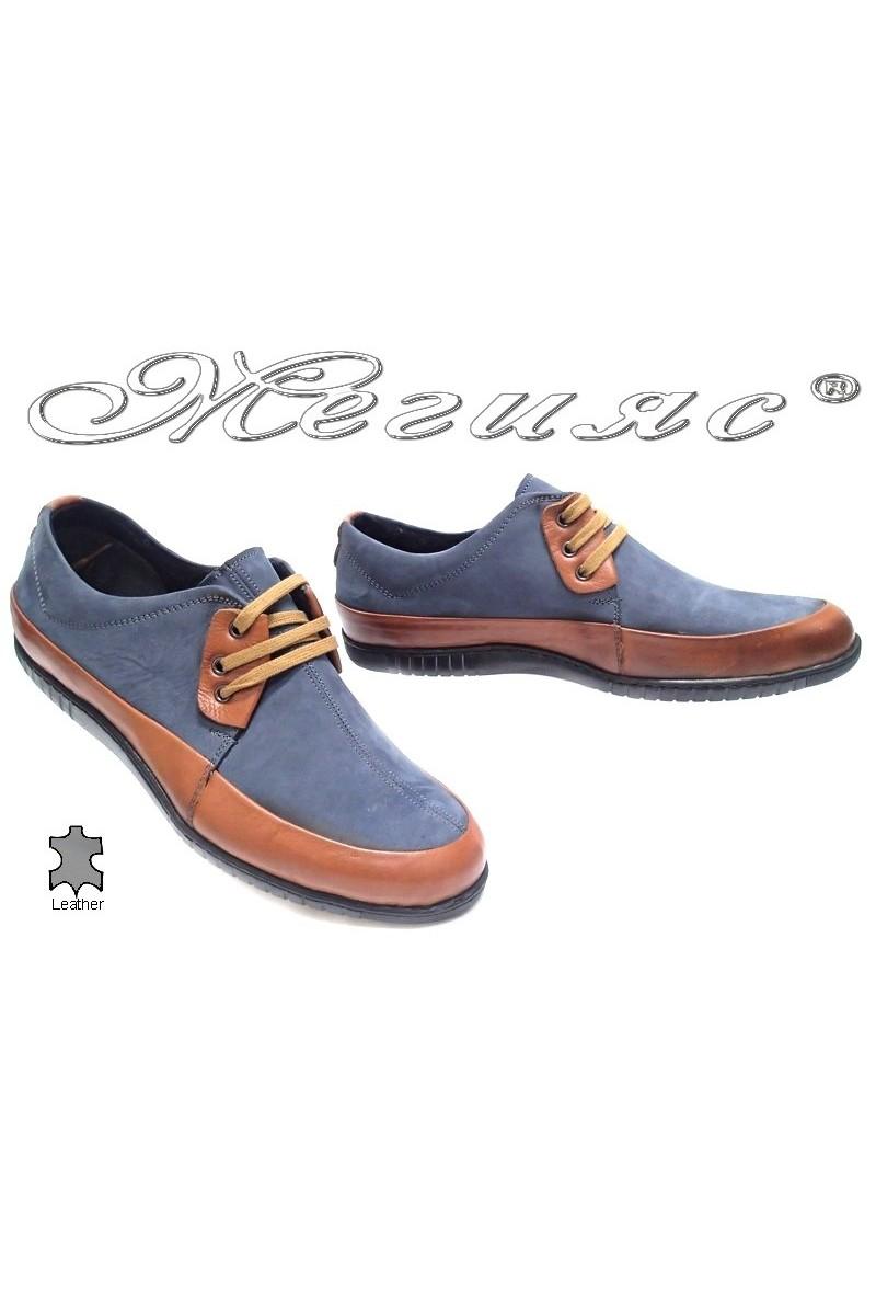 Мъжки обувки Сенс.600 кафяви+синьо естествена кожа