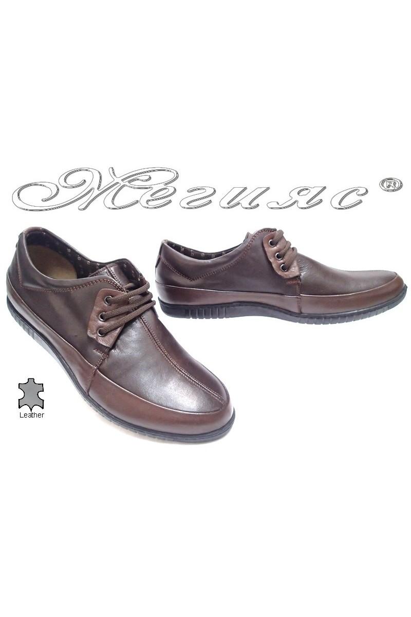 Мъжки обувки Сенс.600 тъмно кафяви естествена кожа