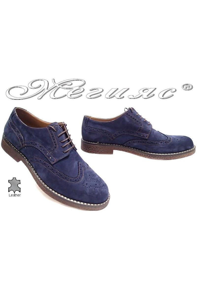 Мъжки обувки Купе 02 сини естествен велур