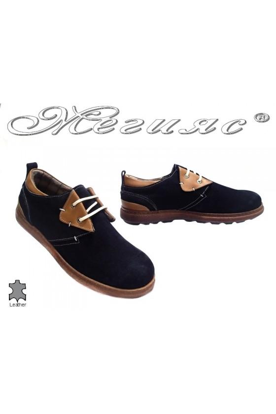 Мъжки обувки 071 черни естествен велур