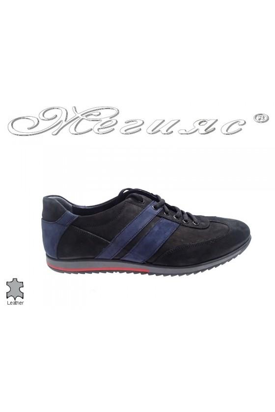 Мъжки обувки естествен велур черни Фантазия 5000