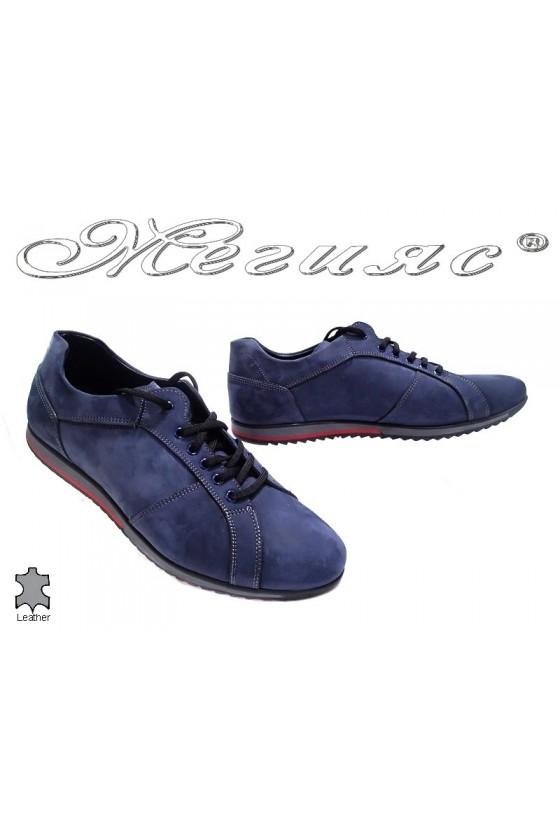 Мъжки обувки Фантазия 5002 сини естествен велур