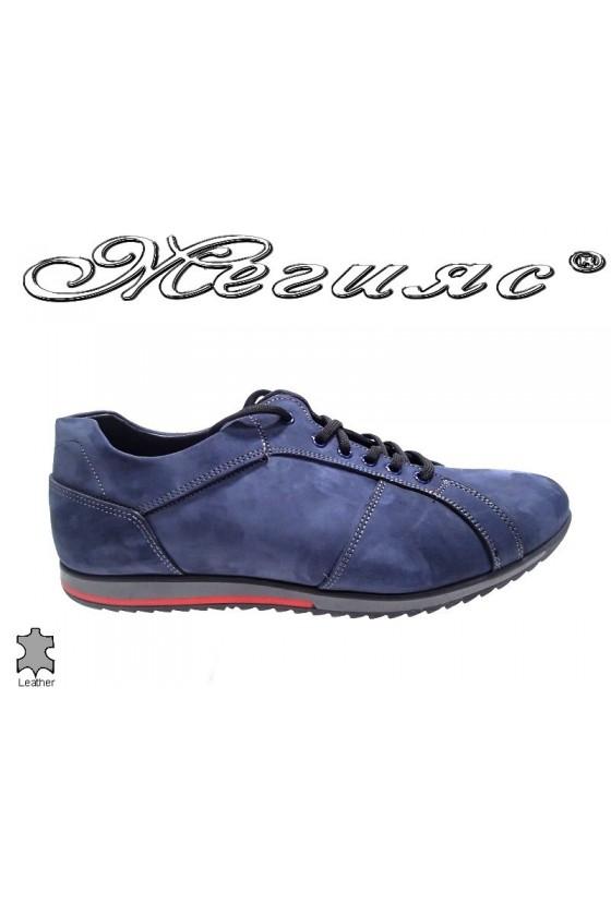 Мъжки обувки естествен велур сини Фантазия 5002