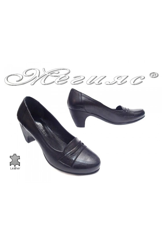 Women middle heel shoes 041 casual black all leather