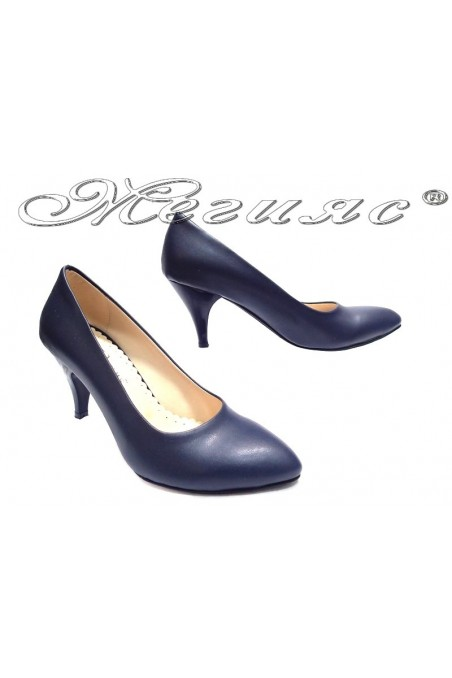 Lady elegant shoes 700 blue middle heel pu