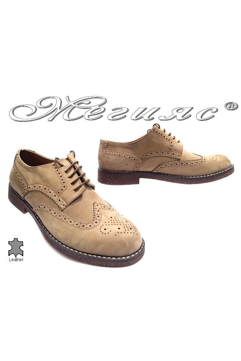 Мъжки обувки Купе 02 бежови естествен велур