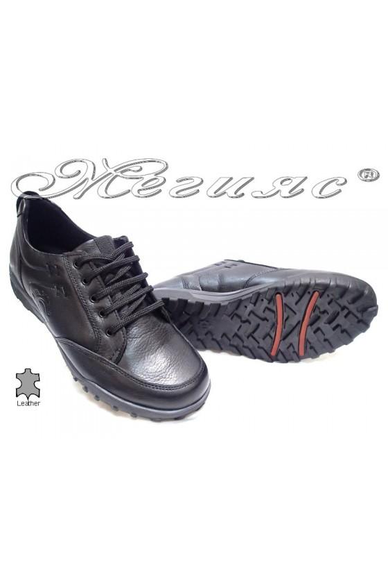 Мъжки обувки Carchino 4607 черни естествена кожа