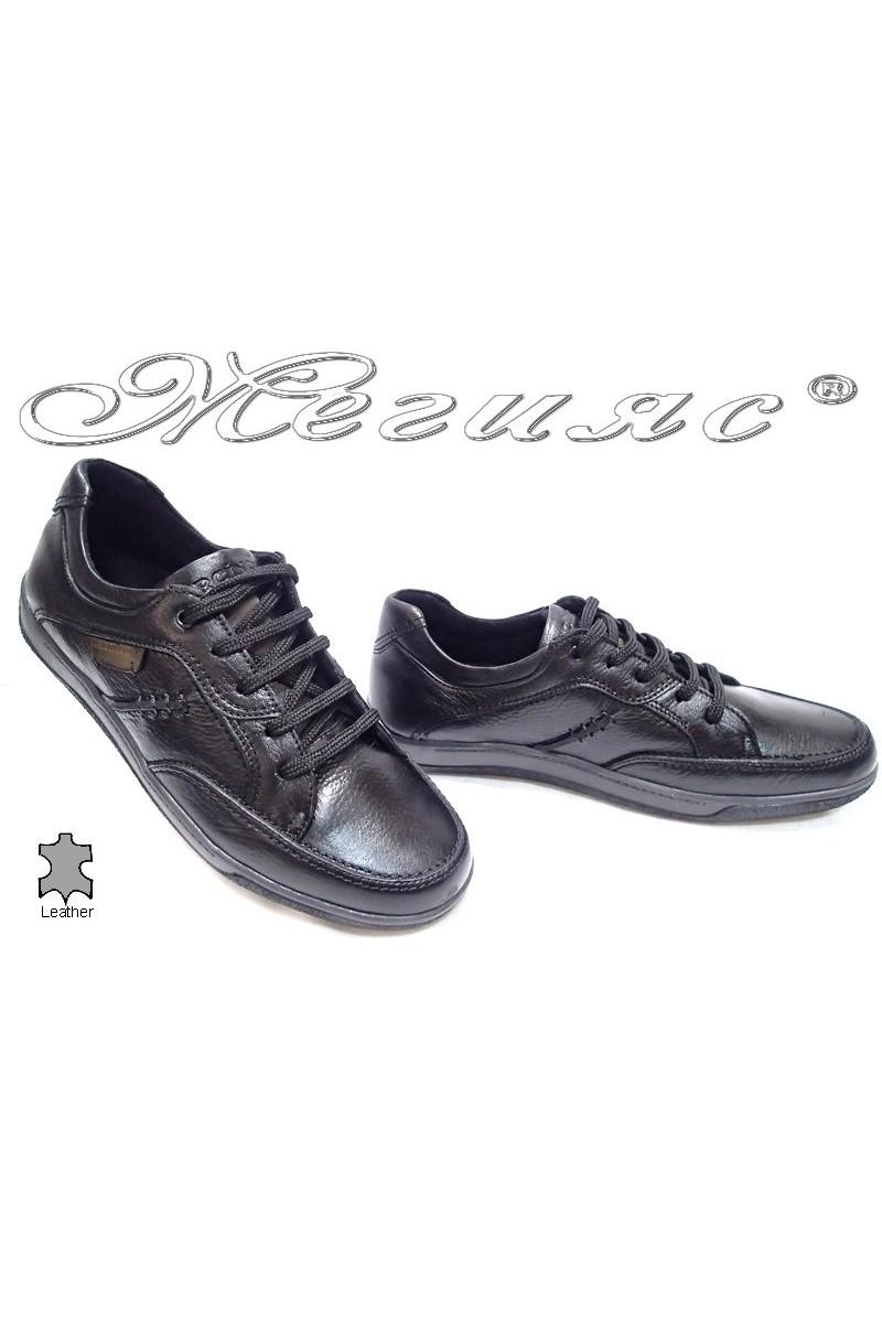 Мъжки обувки Carchino 4608 черни естествена кожа