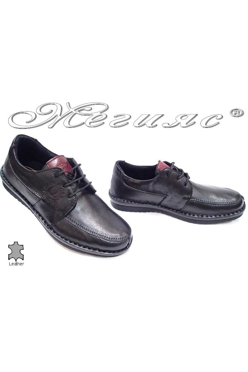 Мъжки обувки Carchino 4610 черни естествена кожа