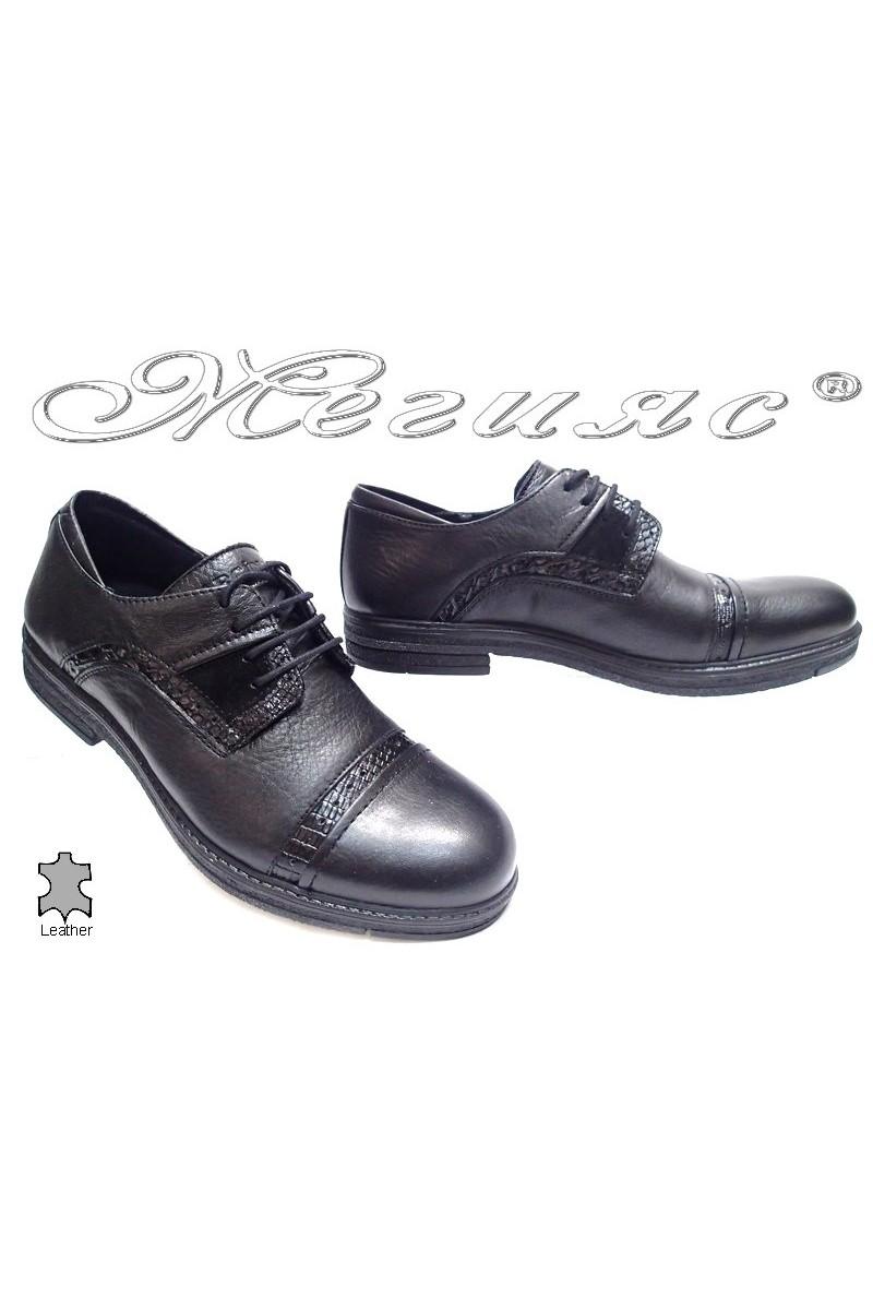 Мъжки обувки Carchino 4604 черни естествена кожа