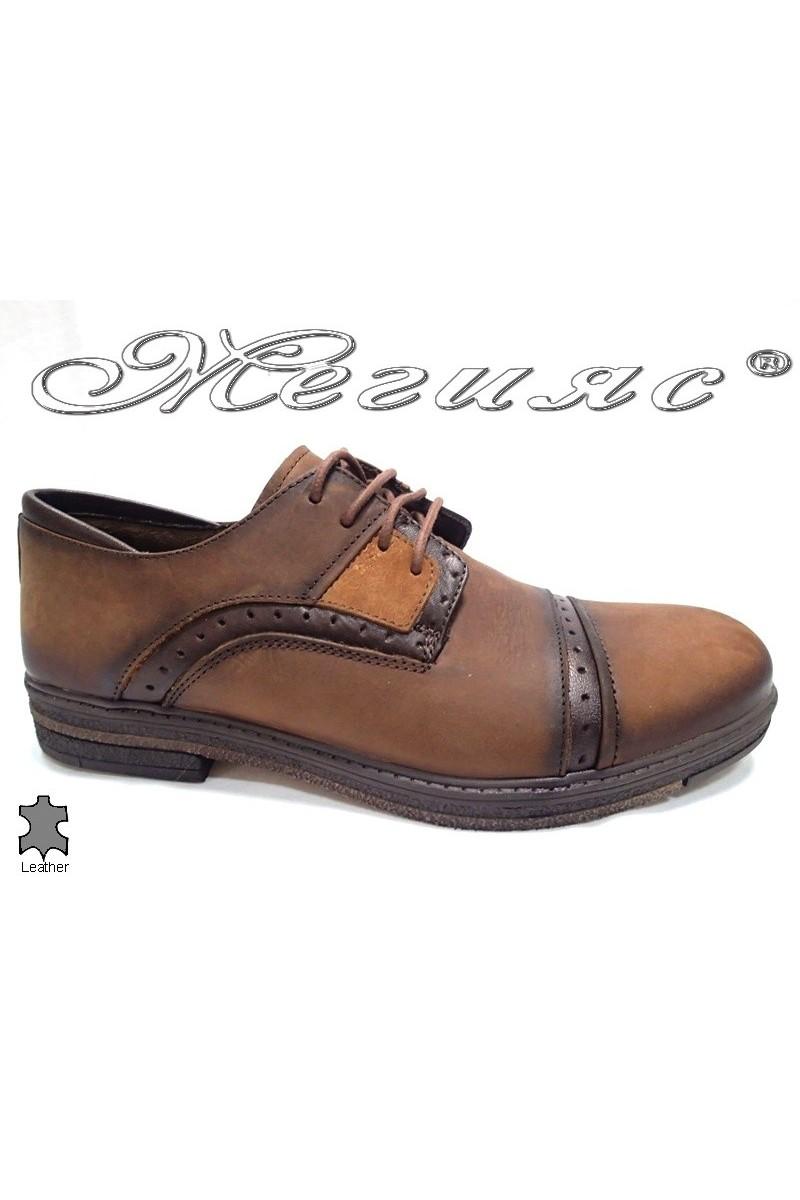 Мъжки обувки Carchino 4604 кафяви естествена кожа
