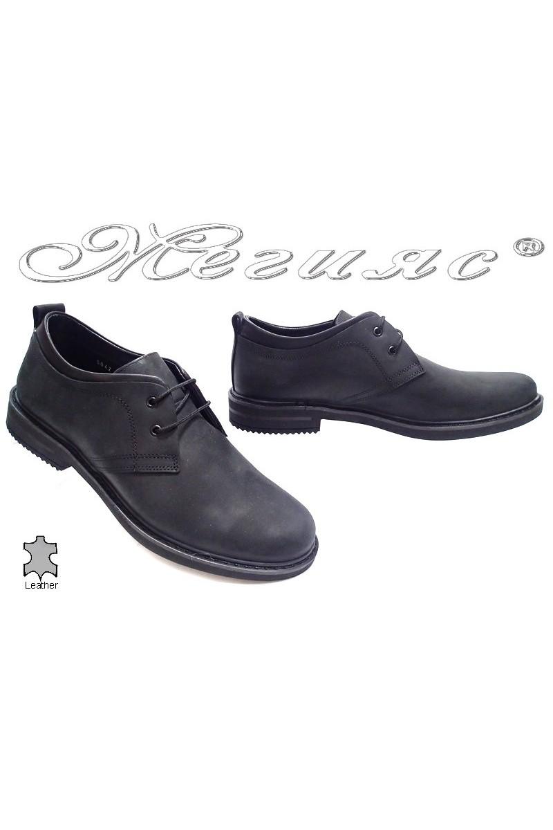 Мъжки обувки Фантазия 5042 черни набук естествена кожа