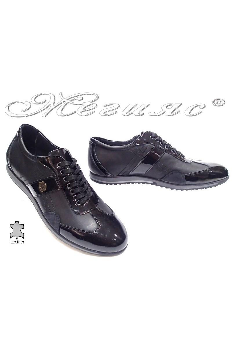Мъжки обувки Bala 436 черни кожа+лак естествена кожа