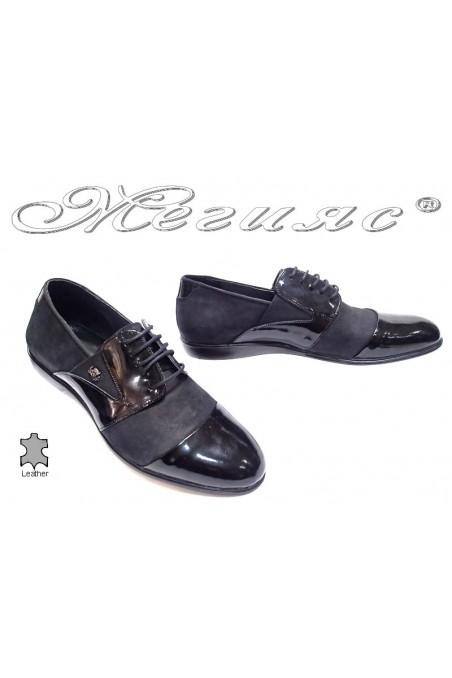 Мъжки обувки черни набук+лак естествена кожа