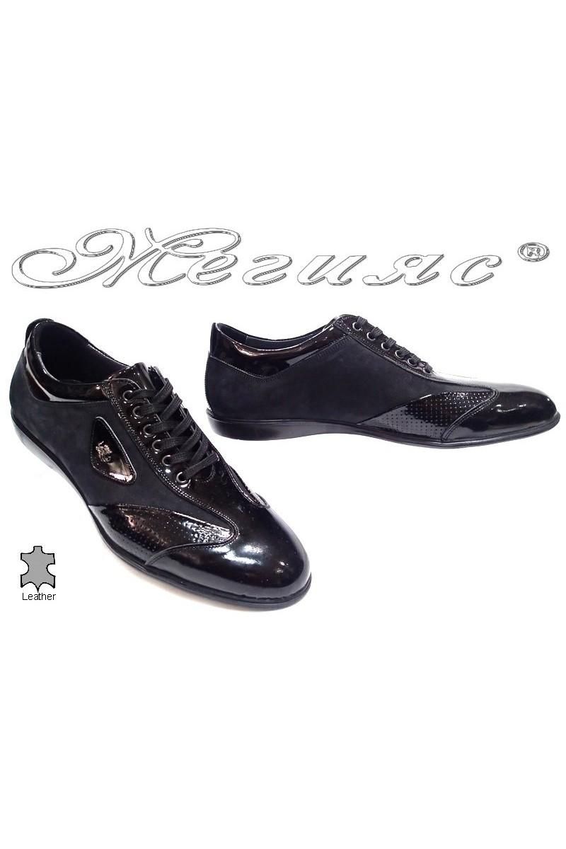 Мъжки обувки Bala 437 черно набук+лак естествена кожа