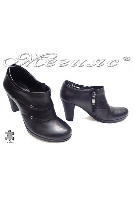 Ladies high heel boots rooki casual black all leather