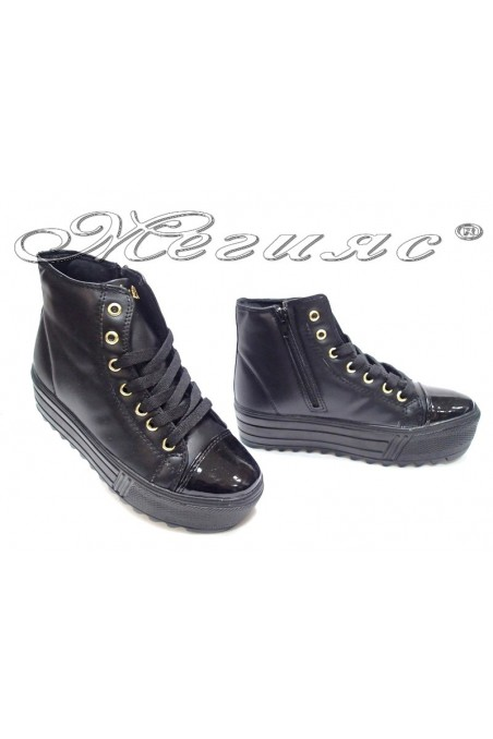 Lady casual shoes 415 platform black pu