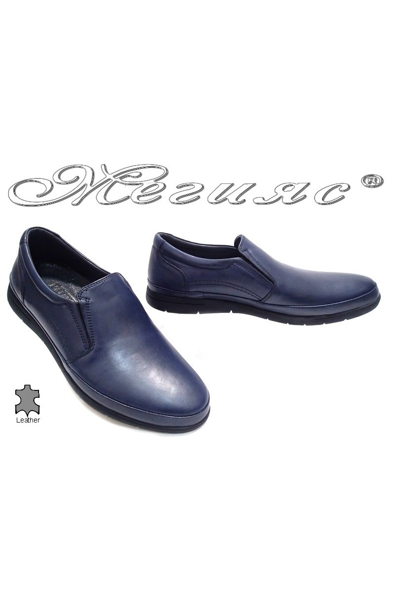 Мъжки обувки Пъфи 735 сини естествена кожа