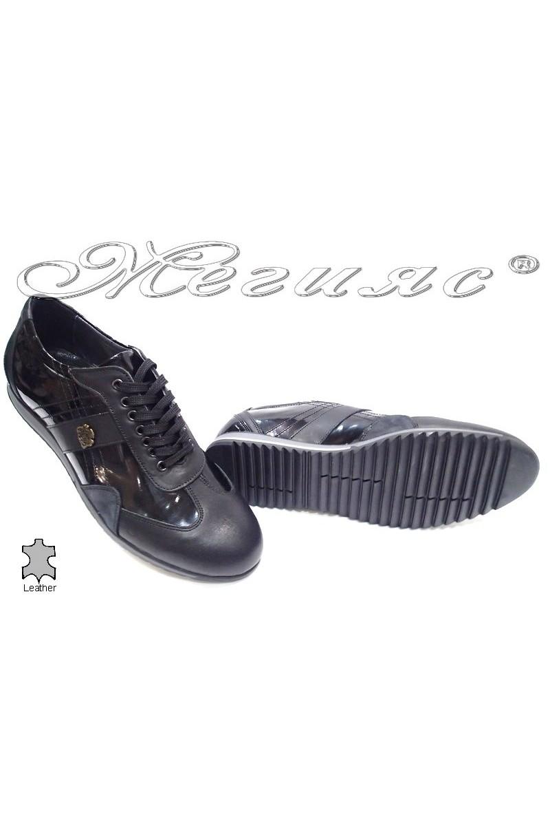 Мъжки обувки Bala 436 черни лак естествена кожа