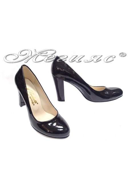 Ladies elegant shoes 01203 black patent high heel