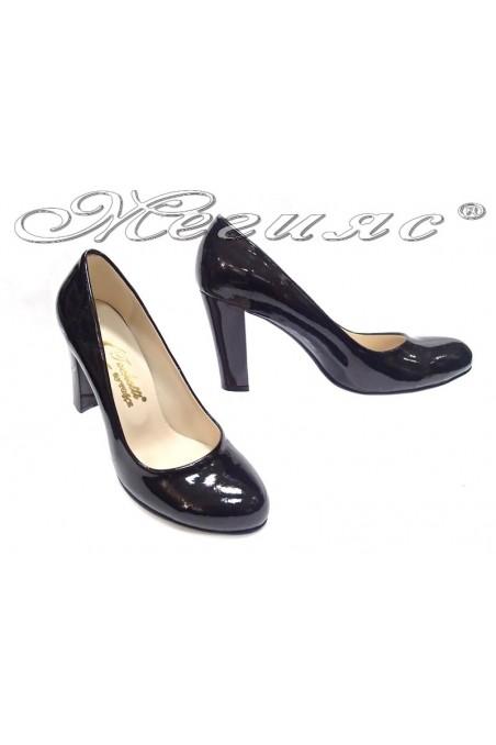 Ladies elegant shoes 01203 black patent high heel