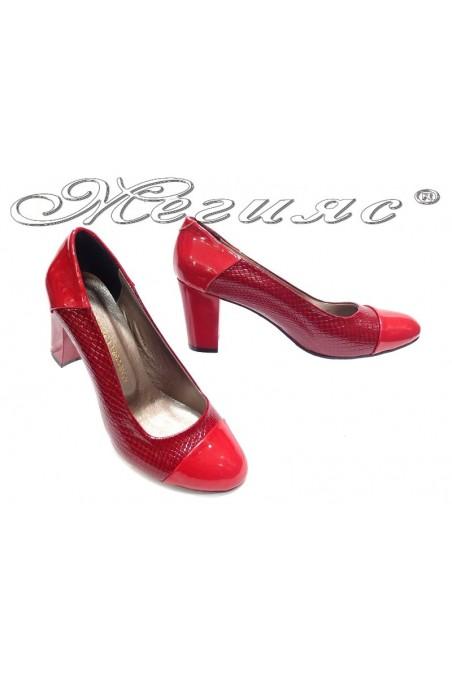 Women elegant shoes 103 red snake high heel