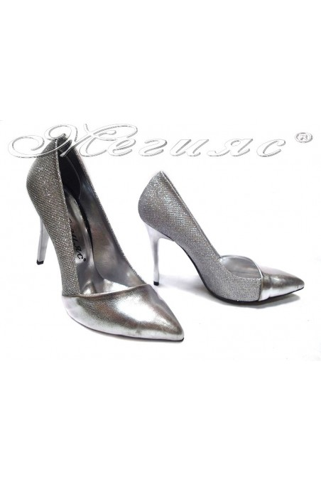 Lady elegant shoes 221 silver shinihg high heel