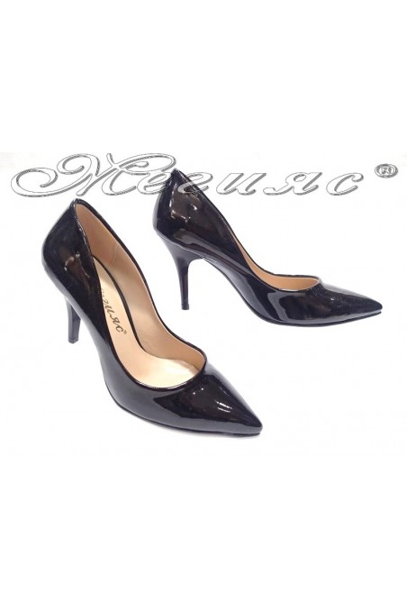 Women elegant shoes 1700 black patent middle heel