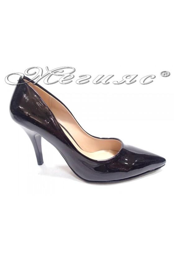 Women elegant  shoes 1700 black patent middle heel