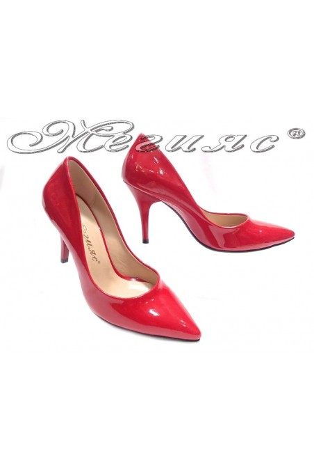 Women elegant shoes 1700 red patent middle heel