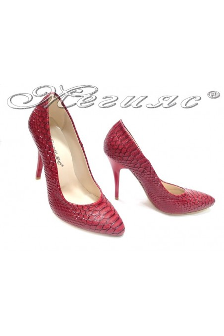 Lady elegant shoes 162 red snake high heel pu