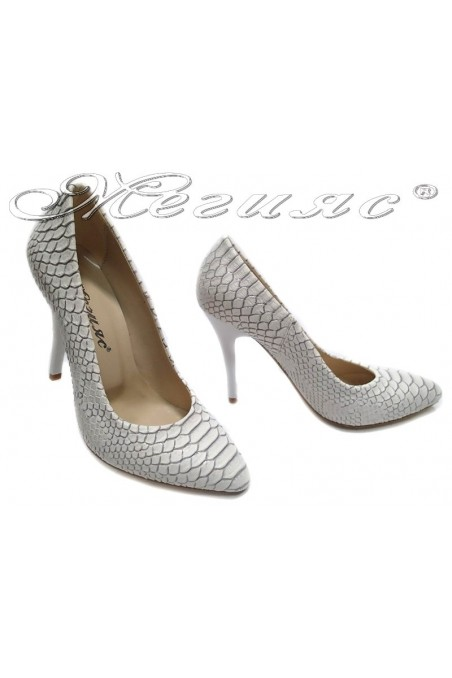 Lady elegant shoes 162 white snake pu high heel