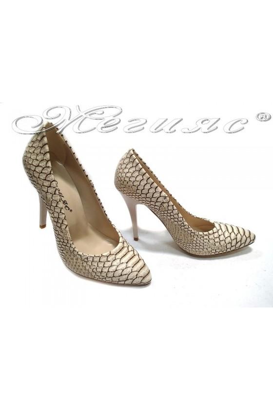 Дамски обувки 162 тъмно бежови  кроко