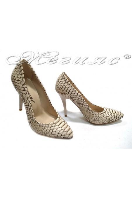 Women elegant shoes 162 dark beige snake pu high heel