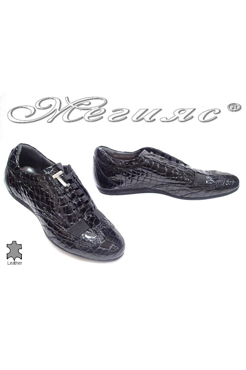 Мъжки обувки 7797 черни естествен лак