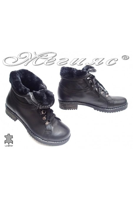 Women casual warm boots 215 black leather