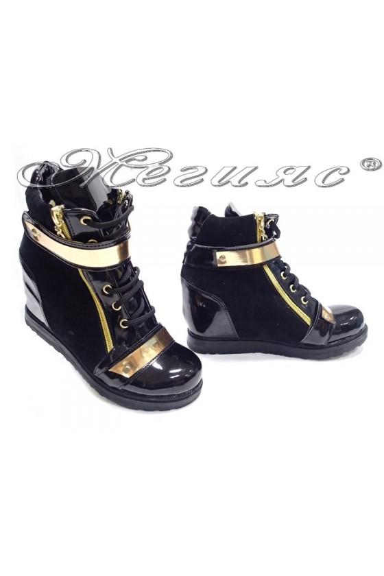 Women casual boots 556 platform black suede+patent