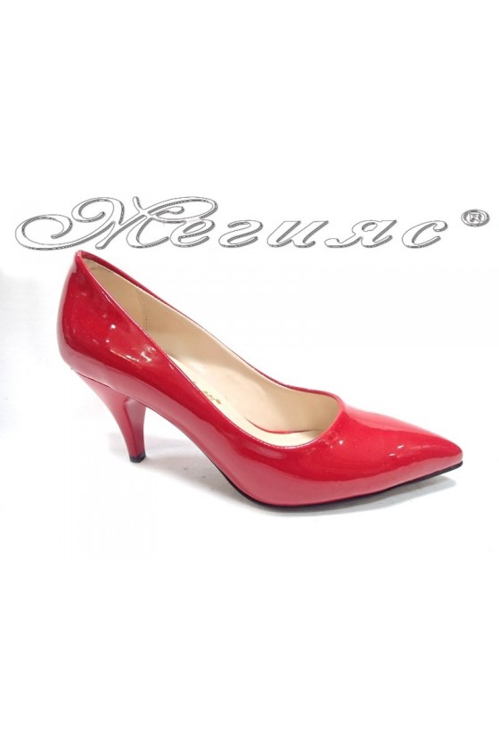 Women  shoes 01103 red patent middle  heel
