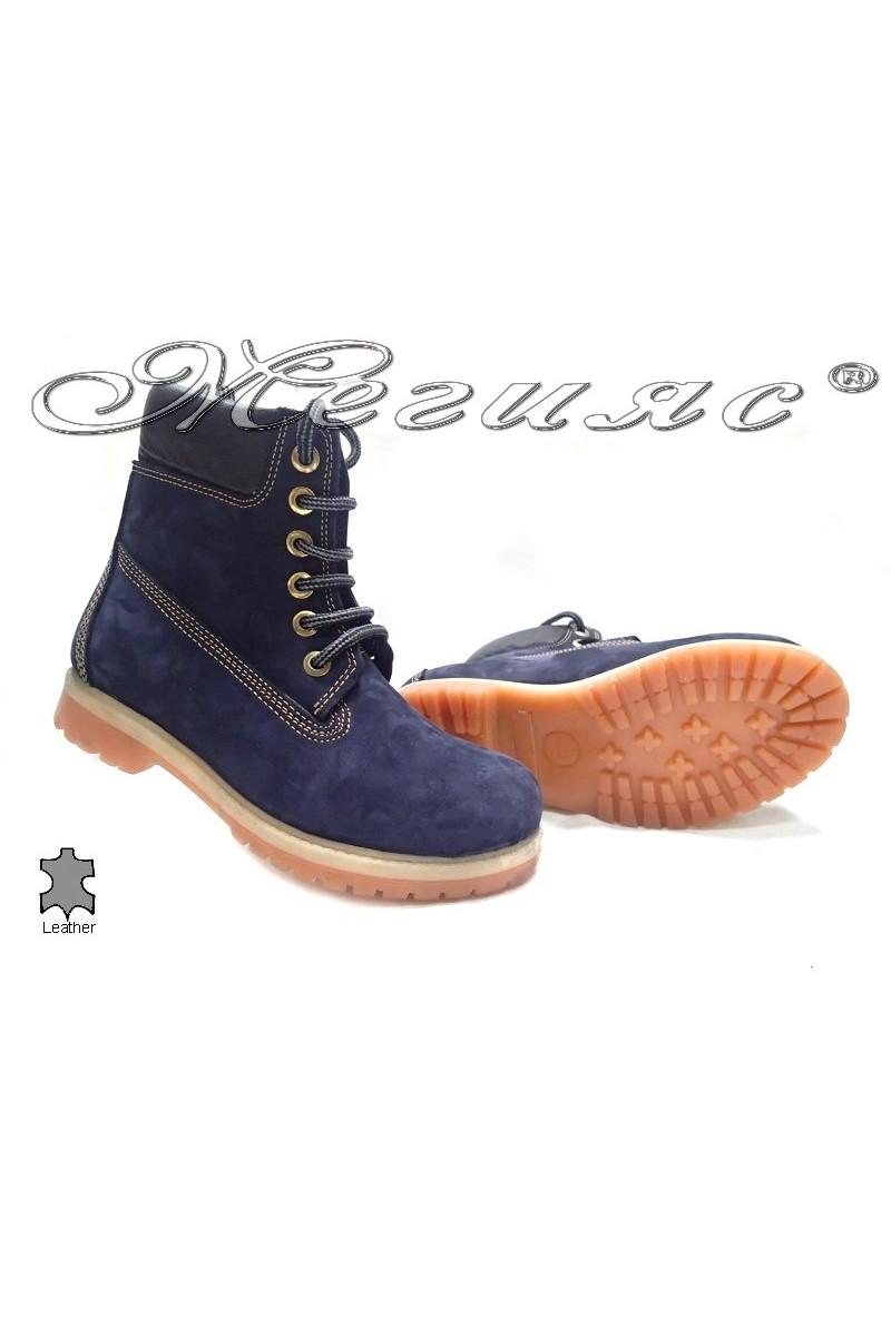 Боти Mer / Garson сини естествен набук