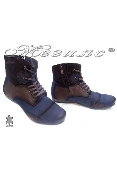 Мъжки боти 1412 кафяво+синьо естествен набук